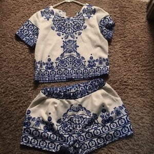 Matching blue and white two piece set